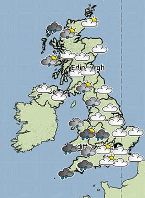 Weather map of UK