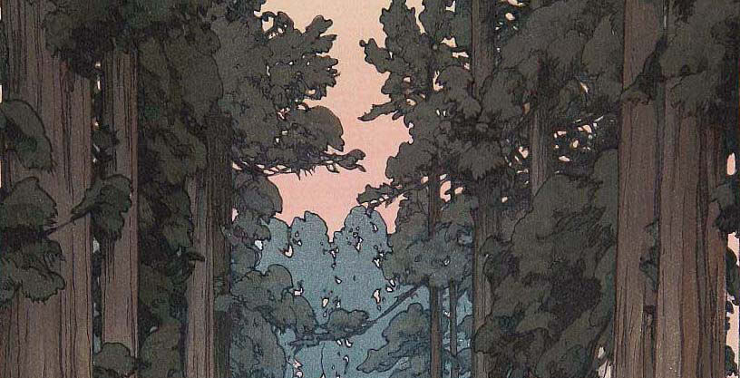 Detail of forest painting