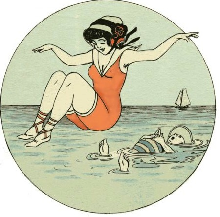 Lady jumps into the sea
